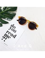 LXKMTYJ Moda minimalista individuali colore trasparente chip occhiali da sole wild viso rotondo Scatola caramella occhiali da sole colorati, giallo