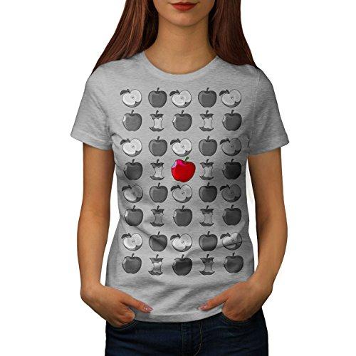 Wellcoda rot Apfel Essen Mode Obst Spaß Frau M T-shirt (Frauen Apfel T-shirt)