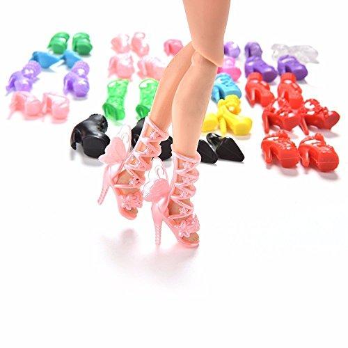 Preisvergleich Produktbild ASIV 20 Paare Fashion Heels Sandalen Schuhe für Barbie-Puppen Spielzeug-Zubehör Zufällige Stil