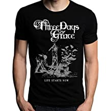 Grossbull Three Days Grace Life Starts Now T-Shirt, CBlack, X-Large
