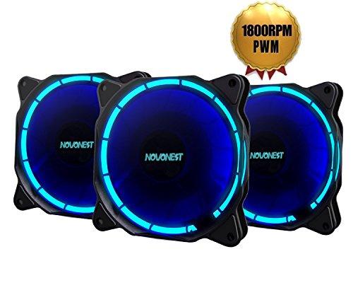 novonest Gehäuselüfter 120-LED Quiet Edition 120mm High Airflow Blau LED Lüfter,4-pin,3er Set Gehäuselüfter