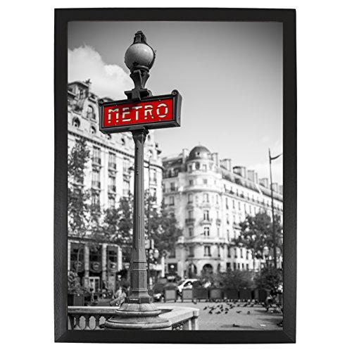 a4 21x30 cm cadre photo en bois noir avec vitre protectrice con u pour pr senter des photos. Black Bedroom Furniture Sets. Home Design Ideas