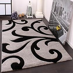 Alfombra De Diseño - Ornamentos Contorneados En Gris Negro, (Varias medidas):160 x 230 cm