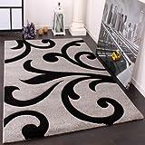 Alfombra De Diseño - Ornamentos Contorneados En Gris Negro, Grösse:80x150 cm