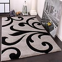Alfombra De Diseño - Ornamentos Contorneados En Gris Negro, tamaño:120x170 cm
