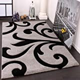 Paco Home Tappeto Di Design Orlo Lavorato Moderno Ondulato Nei Colori Grigio Nero, Dimensione:120x170 cm