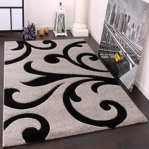 Designer Teppich mit Konturenschnitt Modern Grau Schwarz, Grösse:160x230 cm