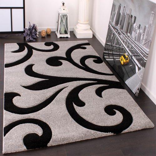 Paco Home Alfombra De Diseño - Ornamentos Contorneados En Gris Negro,