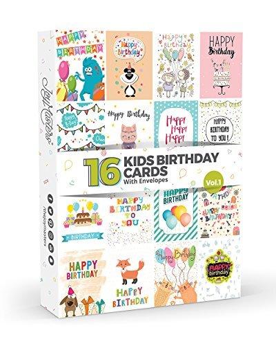 16x biglietti di compleanno per bambini da joy masterstm, vol.1, confezione multipla per bambini, set grande per ragazzi e ragazze