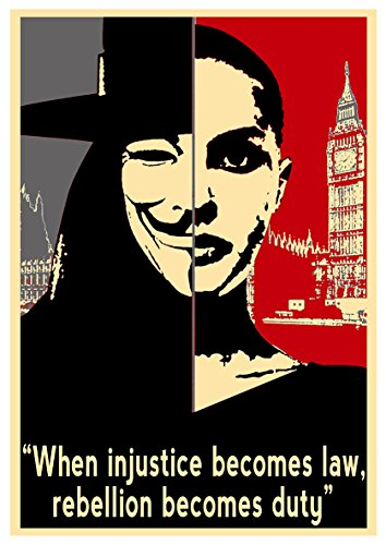 Instabuy Poster V wie Vendetta (V for Vendetta) Propaganda Quotes V - A3 (42x30 cm) (V For Vendetta Kaufen)