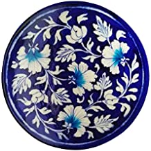 Shiv Kripa Blue Pottery Decorative Wall Hanging Handcrafted Plate (17cm X 17cm X 3cm)