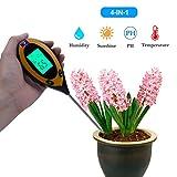 RCYAGO Bodentester 4 in 1 Erde Feuchtigkeit Meter bodentester ph wert Boden Temperatur und Sonnenlicht Intensität Tester für den Garten Landwirtschaft Indoor Outdoor