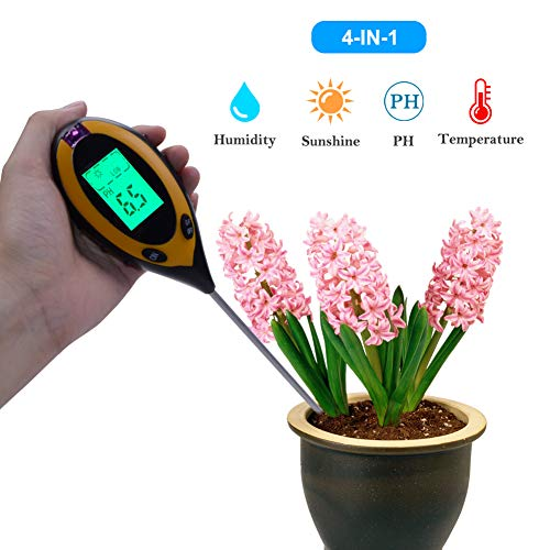RCYAGO Bodentester 4 in 1 Erde Feuchtigkeit Meter bodentester ph wert Boden Temperatur und Sonnenlicht Intensität Tester für den Garten Landwirtschaft Indoor Outdoor