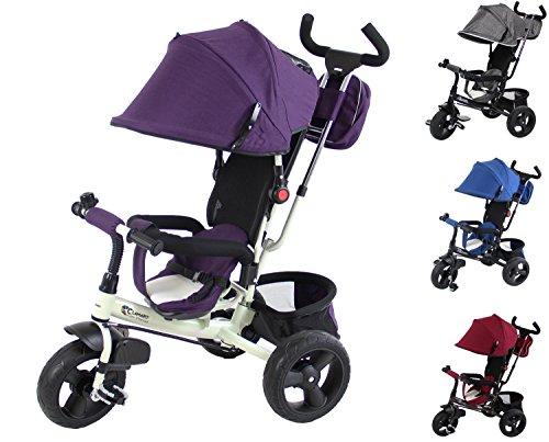 Clamaro 'Buttler GT' weiß/lila - 4in1 Kinderwagen Dreirad ab 1 Jahr mit lenkbarer Schubstange, flüsterleise Gummireifen und Sonnendach, Kinderdreirad durch 4-fach Umbau für Kinder ab ca. 1 - 5 Jahre geeignet - Farbe: Weiß/Lila