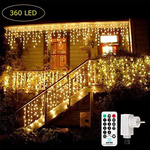 Qedertek 360 LED Lichterkette Eisregen, 9M Lichtvorhang Steckdose für Innen und Außen, 8 Modi und Timer Funktion und Merk-Funktion Dimmbar mit Fernbedienung, Deko Weihnachtsbaum, Partys (Warmweiss)