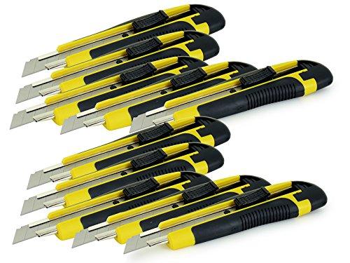 Preisvergleich Produktbild AKF 10 x Cuttermesser mit 18mm Trapezklinge - Günstiges Set für Heimwerker und Profis