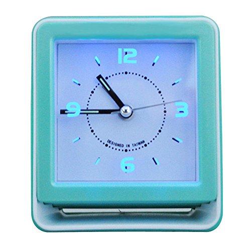 KHSKX Student Quadrat kleiner Wecker, blau leuchtende Alarm für kreative Musik, Stille schlafen faule am Krankenbett Uhren , (Kostüme Nacht Kleine Musik Eine)