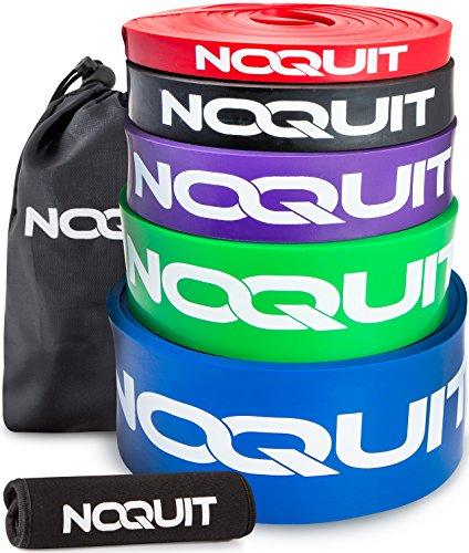 Premium Widerstandsband mit innovativen Neopren Grips für noch effektiveres Training - Klimmzughilfe mit großem, gedrucktem Trainingsguide - überall Trainieren mit dem Resistance Band von NOQUIT (Grün XL)