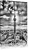 Monocrome, Großstadt Fernsehturm, Berlin City, Format: 100x70 auf Leinwand, XXL riesige Bilder fertig gerahmt mit Keilrahmen, Kunstdruck auf Wandbild mit Rahmen, günstiger als Gemälde oder Ölbild, kein Poster oder Plakat