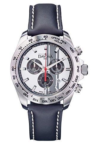 Davosa Herren-Armbanduhr Speedline TX Chrono Chronograph Leder Schwarz 16248815