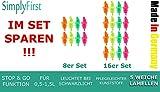 16 vertedor neón con 5 láminas flexibles sin goteo y función STOP & GO, para botellas de 0,5- 1,5 l, calidad gastronómica en colores neón por SimplyFirst MADE IN GERMANY (contenido: 4 naranjas, 4 amarillas, 4 verdes, 4 magentas)