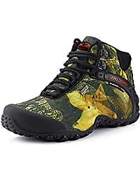 NEOKER Hombre Montaña Botas de Senderismo Trekking Invierno Zapatos de Aire Libre y Deporte Verde Gris 40-45