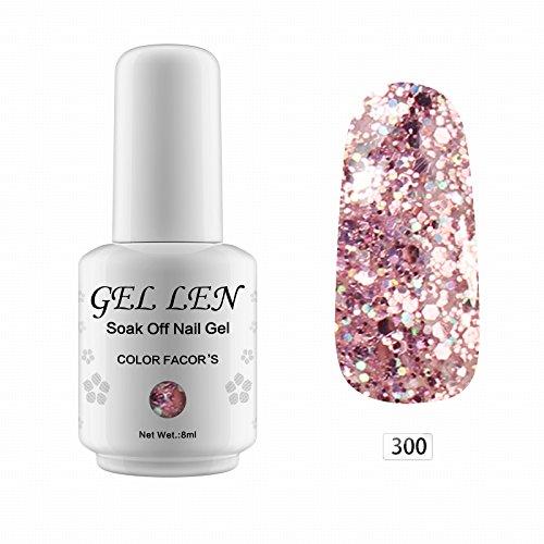 Gel Nail Polish Qatar: Gellen Glitter Pink Gel Nail Polish