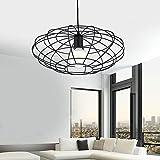 Schön-Lampe Modern Industrial Loft–Lámpara de techo Iluminación Interior Lámpara de techo para salón comedor Balcón Cocina E27ø39cm 220V Max 40W Negro