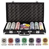 Grandma Shark Malette Poker Jetons Poker Ensemble de 300 Jetons 2 Jeux de Cartes 5 Dés 1 Bouton Dealer Mallette en Aluminium