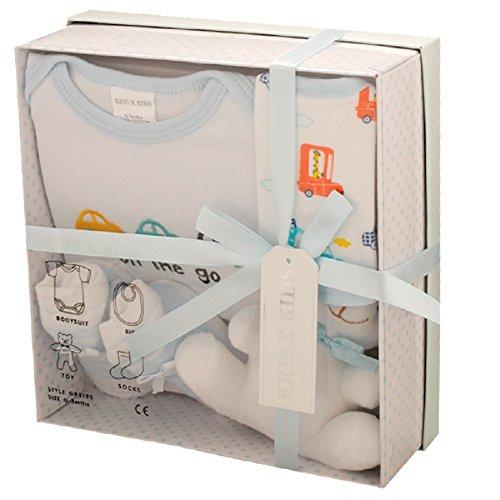 Baby-Geschenkset, 0–3Monate, in Geschenkbox, 4-teilig,erhältlich in blau, pink, zitronengelb oder weiß. Gr. Neugeborene, Blaues Set (Baby Socken Geschenk-box)