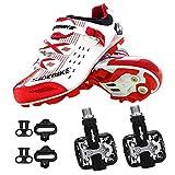 SIDEBIKE Radfahren Schuhe mit Pedalen & Pedalplatten, Mountainbike Schuhe für Erwachsene, PU Mikrofaser Radfahren Schuhe (46, Weiß)