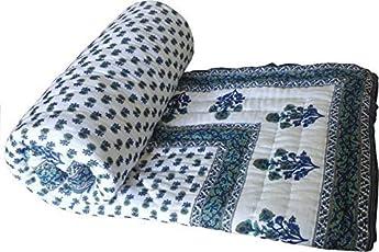 Namaste India Double Bed Size White Jaipuri Cotton AC Quilt Razai Floral Prints for Winters