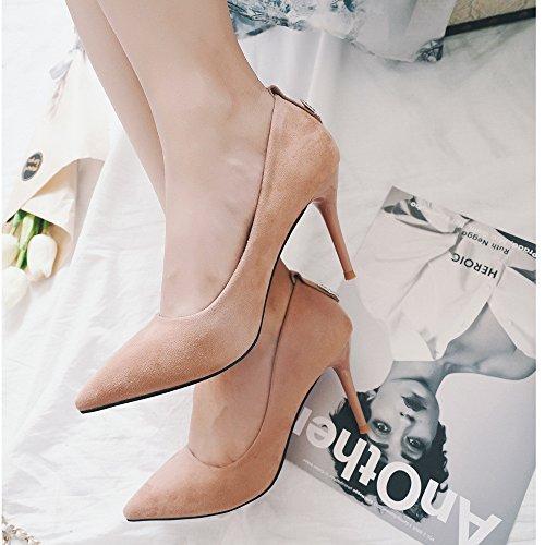 I dettagli fini con a tacco alto scarpe con i tacchi alti punta nero  satinato shallow ...