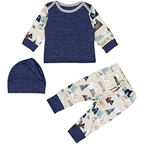 Abbigliamento da Bambini Clode® 3pcs Newborn Ragazze dei Neonati Stampa Maglietta Top Pantaloni Cappello Outfits Abbigliamento