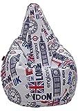 loconfort Puff de pera Adulto XL Polipiel Estampada Big Ben (85x85x135)