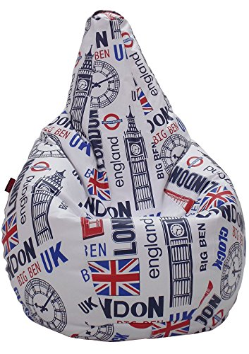 loconfort Puff pera XL Adulto Polipiel Estampada London (85x85x135) (L NIÑO/A, Big-Ben)