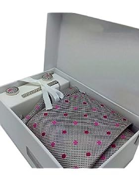 Ducomi® Gentleman - Cuadro Bien con Corbata, Gemelos, Corbata y Pañuelo de Bolsillo - Elegante y Clásica del Regalo...