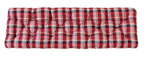 Ambientehome 3er Sitzkissen Bank Evje, karo rot, ca 150 x 50 x 8 cm, Polsterauflage, Bankauflage