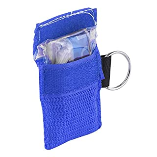 Key Ring Pouch,CPR Face Mask Shield One-way Valve For First Aid Training by Aquiver (Blue)