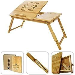 Todeco - Table Portable pour Ordinateur, Plateau de Lit Pliable - Matériau: Bambou - Taille du bureau: 55,1 x 35,1 cm - Bureau réglable avec trous d'aération