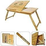 Todeco – Table de lit support ordinateur - Tablette inclinable design en bambou