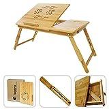 Todeco - Tavolino Portatile Per Notebook con ventilazione, Vassoio Pieghevole, Regolabile, Materiale: Bambù, 55.1 x 35.1 cm