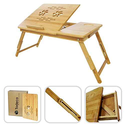Todeco - Mesa Portátil para Laptop, Bandeja de Cama Plegable - Material: Bambú - Tamaño de la superficie de la mesa: 55,1 x 35,1 cm - Escritorio ajustable con ventilación