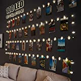 Guirlande Photo, Litogo Guirlande Lumineuse Chambre 10M 100LED Guirlande Led Photo Batterie Alimenté Porte photos Avec 60 Photo Clips Decoration Interieur Chambre pour Accroche Photo - Blanc Chaud
