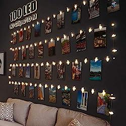 LED Fotoclips Lichterkette für Zimmer Deko, Litogo 10M 100LED Lichterkette mit 60 Klammern für Fotos Lichterkette Wand Batteriebetriebene Lichterkette Bilder für Wohnzimmer, Weihnachten, Hochzeiten