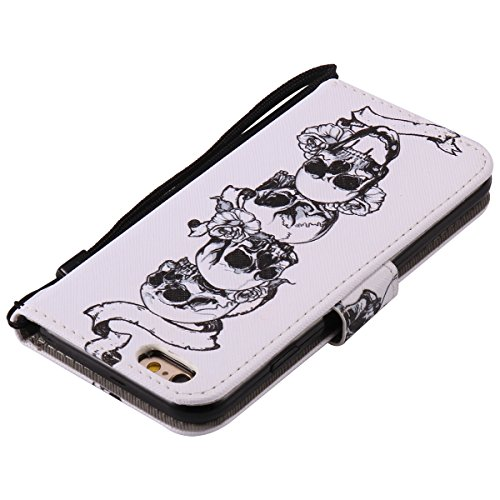 iPhone 6 Plus Hülle,iPhone 6S Plus Hülle,SainCat PU Leder Hülle Brieftasche im BookStyle Wallet Case Lederhülle Folio Schutzhülle Karikatur Muster Ledertasche Hülle Bumper Handytasche Skin Schale Soft Schädel