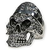 Fly Style® - Totenkopf Ring US Biker Stars & Stripes aus 925 Silber - massiver Herren Schmuck für Biker Rocker Outlaws, Ring Grösse:19.4 mm