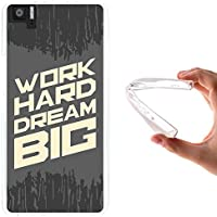 Funda Bq Aquaris M5, WoowCase [ Bq Aquaris M5 ] Funda Silicona Gel Flexible Frase Motivación - Work Hard Dream Big, Carcasa Case TPU Silicona - Transparente
