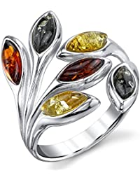 Ultimate Metals Co. ® Sterling Silver Baltic Amber Celtic Design Ring with Cognac Color Marquise Shape Center