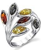 Damen Sterling Silber Baltischen Bernstein Blatt Ring Mit Multi Farbe, Bequemlichkeit Passen Größe 57